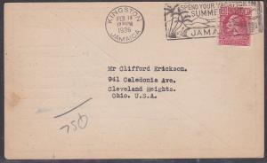 JAMAICA 1936 QSL Raadio Ham card used Kingston to USA........................703