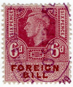 (I.B) George VI Revenue : Foreign Bill 6d