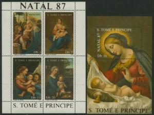 St Thomas & Principe 813-4 MNH Christmas, Art, Madonna