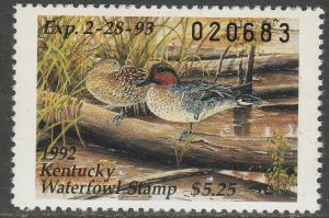 U.S.-KENTUCKY 8, STATE DUCK HUNTING PERMIT STAMP. MINT, NH. VF