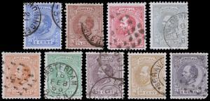 Netherlands Scott 23-28, 30-32 (1872-88) Used H F-VF, CV $87.55 B