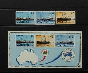 VANUATU 1984 Ausipex set 25c-100c IMPERF S/Sheet Printers Folder