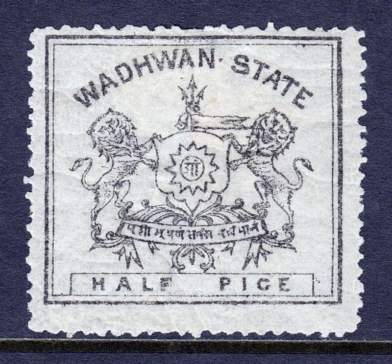 INDIA (WADHWAN) — SCOTT 2 (SG1) — 1888 ½p THIN PAPER — MH — SCV $30.00