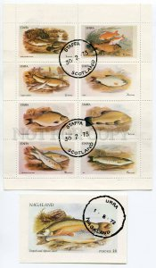 266506 NAGALAND 1972 used stamps set+S/S FISHES