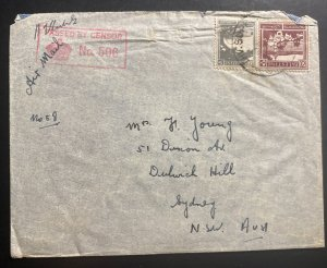 1940 Supply HQ Palestine Australian Forces Censored  Cover To Sydney Australia