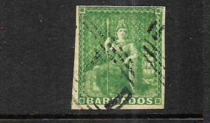 BARBADOS   1855-58 1/2d   GREEN  FU   SG 8  Sc 5