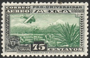 MEXICO C57, 75¢ UNIVERSITY ISSUE. UNUSED, HINGED, OG. VF.