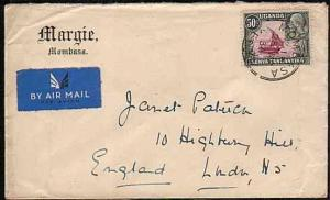 KENYA UGANDA TANGANYIKA 1936 airmail cover Mombassa to UK