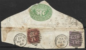 Doyle's_Stamps: 1869 British Scott #33 and #51a On-Piece, CV $175    L24