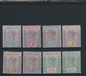LEEWARD IS 1890 SET OF EIGHT FINE MM SG 1/8 CAT £190