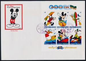 Antigua 2221,2221G on FDC - Disney Characters in Water Sports, Surfboard, Yacht
