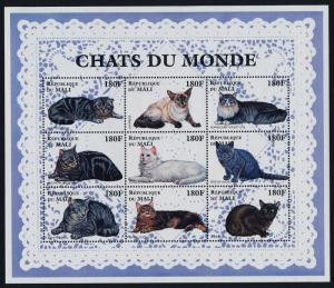 Mali MNH S/S 825 Cats 9 Stamps PURR!!!! PURR!!!!
