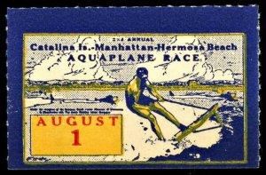1936 Aquaplane Race Catalina Island Manhattan Hermosa Beach  (US Poster Stamp)