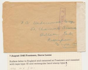 SIERRA LEONE -UK 1940 CENSOR(#2) COVER, TAPE TYPE 1E, 3d RATE (SEE BELOW
