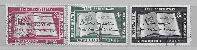 United Nations 35-37 10th UN set Used