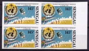 Senegal 1988 Sc#766 Space-ArianeV22 Esa-World Meteorology Day UN Block 4 IMPERF.