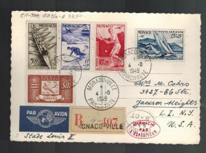 1949 Monaco Cover Postcard to USA # CB7-CB10 complete set Olympics