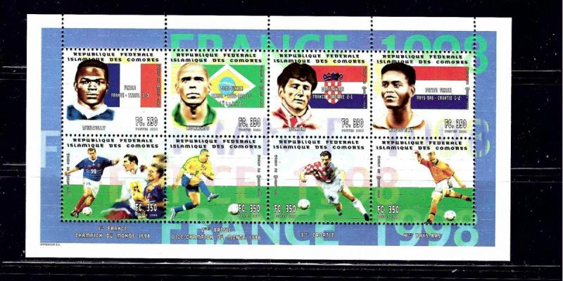 Comoro Is 951 NH 1998 Soccer sheet of 8