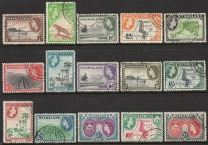 NYASALAND-1953-54 Set to 20/- Sg 173-187 FINE USED V37887