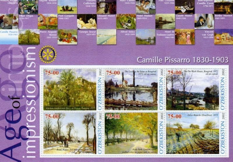 Uzbekistan 2002 Camille Pissarro Paintings Rotary Sheet Perforated mnh.vf