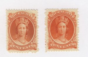 2c Nova Scotia 10c Stamps #12 & #12a Both VF MH Guide Value= $40.00