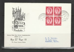 GB, FDC, 1963 Wilding Holiday booklet pane, 4 x 2 1/2d Illus, Winchester cds, Ty