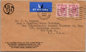 British Thompson-Houson London > GE NY 1949 airmail cover Mazda Lamps logo