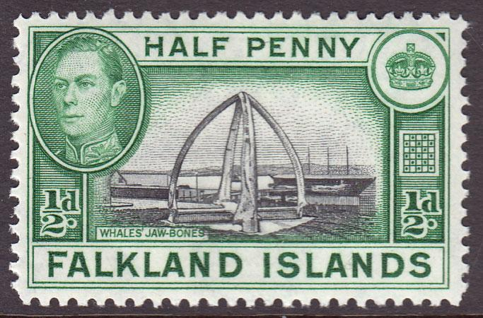 Falkland Islands KGVI 1938 0.5d Black Green SG146 Mint Lightly Hinged