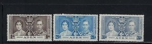 ADEN SCOTT #13-15 1937 GEORGE VI CORONATION ISSUE- MINT HINGED
