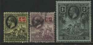 Barbados KGV 1912 4d, 6d, & 1/ used