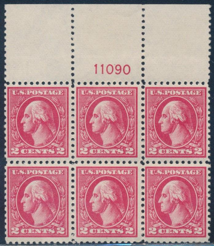 #527 TYPE V TOP PLATE BLOCK OF 6 F-VF OG NH CV $350 BT299