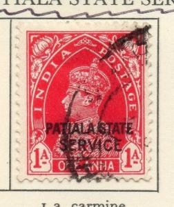 Patiala 1938-43 Early Issue Fine Used 1a. Optd Patiala State Service 029225
