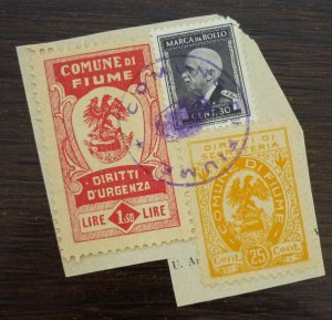 Fiume c1946 Croatia Italy Yugoslavia Revenue Stamps On Fragment  C2