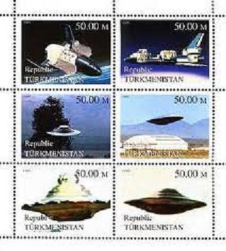 TURKMENISTAN SHEET SPACE UFOS ALIENS