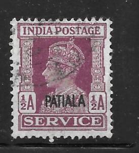 India Patiala O65: 1/2a George VI, used, F-VF