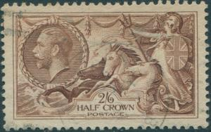 Great Britain 1918 SG415 2/6d reddish brown KGV Sea Horses FU