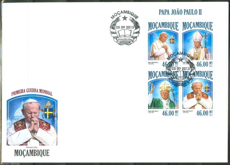 MOZAMBIQUE  2013 POPE JOHN PAUL II   SHEET FIRST DAY COVER