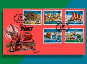Asterix, Bravest Gaul of All, on 'Operation Asterix' Handcolored Guernsey FDC