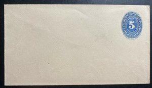 Mint Mexico Postal Stationery Envelope 5 Cents Blue