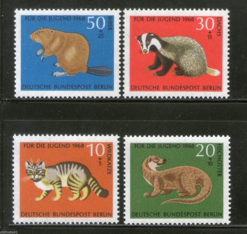 Germany 1968 Wildlife Animals Otter Wildcat Beaver Mammals