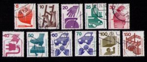 Germany Sc 1074-1083 Used A COMPLETE SET OF 11 - F-VF