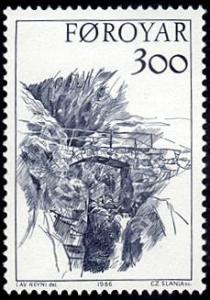 Faroe Islands # 150 mnh ~ 3k Sketch of Bridge