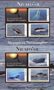 TONGA - Niuafo'ou Scott 269-270 Whale mini sheet set CV $12.75