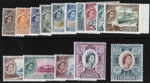 Cyprus Sc 168 - 182 Complete Definitive Set MNH Original Gum