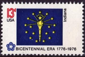 SC#1651 13¢ Bicentennial State Flags: Indiana Single (1976) MNH