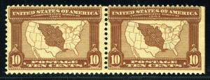 UNITED STATES SCOTT# 327 LOUISIANA PURCHASE MINT NEVER HINGED PAIR AS SHOWN