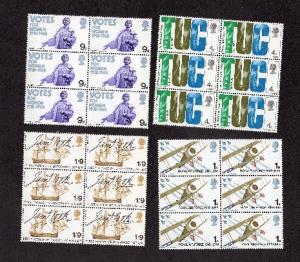 Great Britain  #564-567  1968 MNH anniversaries  in blocks of six