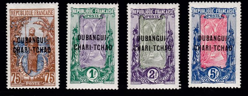 French Congo Ubangi-Shari 1915 Four HI-Vals. of overprint set VF/Mint(*) Hinge