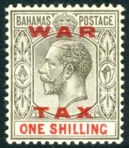 BAHAMAS-1919 1/- Grey-Black  & Carmine War Tax Stamp Sg 104 MOUNTED MINT V15108
