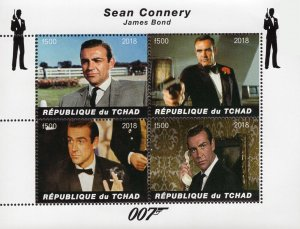Chad 2018 Sean Connery James Bond Hollywood Movie Actor 4v Mint S/S. (#114)